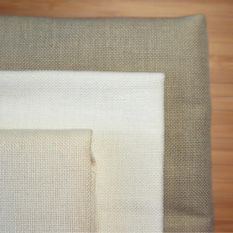 toiles de lin 13 fils de couleurs blanche écru et sable