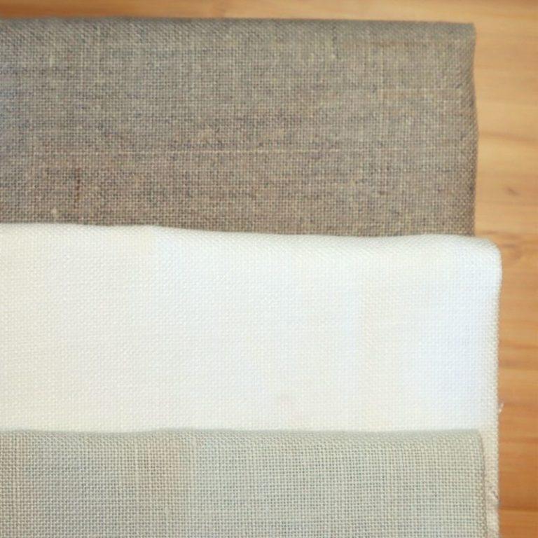 Toiles de lin 15 fils de couleurs blanche ficlelle et gris clair