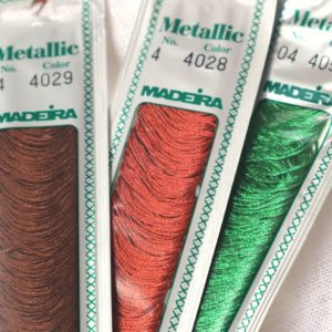 fil madeira metallic marron rouge et vert